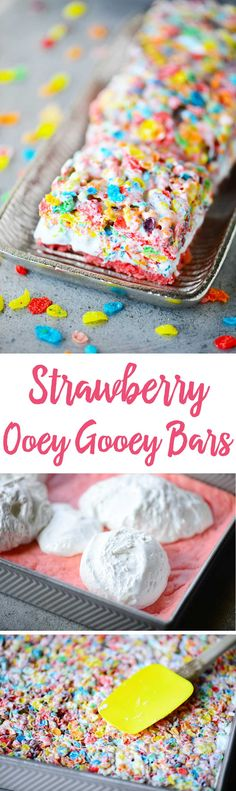 Strawberry Ooey Gooey Bars have a strawberry cake mix crust with marshmallow cream and fruity pebbles treats on top. They are irresistible to kids of all ages!