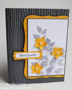 handmade card: Sympathy by StampingwithMarsha ... luv the light sanding on the woodgrain embossing folder texture ... gray, orang and white ... great use of stamping and overstamping of the leaves ... interesting layout ... like it! ... Stampin'Up!