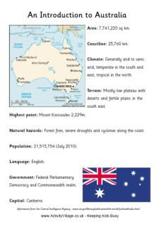 Introduction to Australia fact sheet printable: fantastic site with lots of free printables (animals, holidays, etc) Australia School, Australia Day, Australia Travel, Australia Facts For Kids, Visit Australia, Activity Village, World Thinking Day, Anzac Day, World Geography