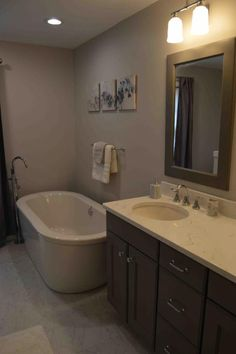 Bathroom Remodel With Maple Cabinets And Giallo Ornamental Granite - Hatchett bathroom remodel