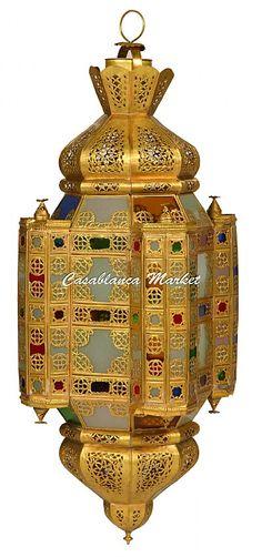 Fassi, Moroccan Brass Chandelier - Hanging Lanterns - Casablanca Market