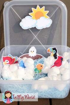 Sunday School Creation Day 5. FREE printables to help create a bird and sky sensory tub.