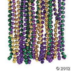Tri-Color Mardi Gras Beads for class party - 8.50/48 pcs