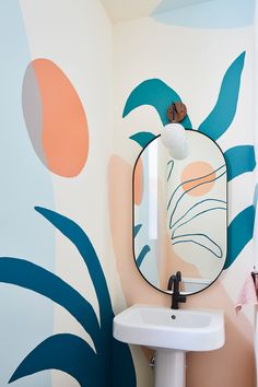 Retro Home Decor hand painted mural in the bathroom.Retro Home Decor hand painted mural in the bathroom Bathroom Mural, Bedroom Murals, Bathroom Wallpaper, Diy Bedroom, Art Mural, Wall Murals, Wall Art, Wall Mural Painting, Creative Wall Painting