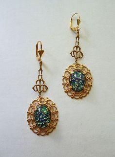 Next pair??? Blue & Green Vintage Glass 1940s Fire Opal Long by LaPlumeNoir, $38.00