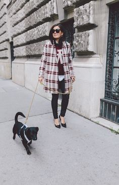 Winter outfit: plaid coat, white shirt, burgundy sweater, black skinny jeans, black heels