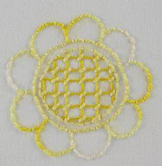 big B: 100 Stitches - Trellis or Jacobean couching stitch