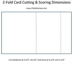 Z fold card cutting & scoring dimensions by Patty Bennett