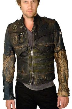 front JUNKER DESIGNS - OFFICER JACKET - Blue Midnight Leather - J Ransom Store - J Ransom Clothing Store