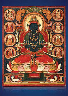 Vajradhara Tibet, 13. Jahrhundert n. Chr., Thangka, Tempera und Gold auf Baumwollgewebe, 53 x 44 cm, Privatsammlung © Photo: Weltkulturerbe Völklinger Hütte | Hans-Georg Merkel