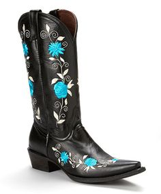Look what I found on #zulily! Black & Blue Embroidered Leather Cowboy Boot by Pecos Bill #zulilyfinds