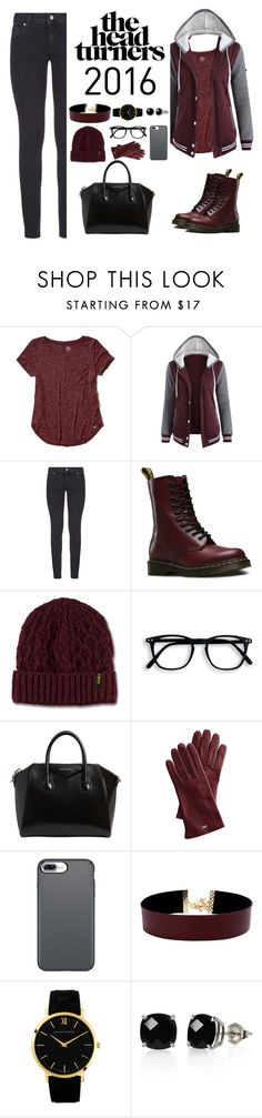 """""""Burgundy"""" by catty-glitter-girl on Polyvore featuring Hollister Co., Paige Denim, Dr. Martens, Givenchy, Mark & Graham, Vanessa Mooney and Belk & Co."""