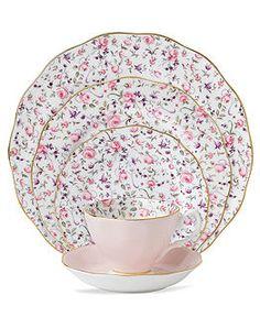 Buy Fine China Dinnerware - Macys Royal Albert Dinnerware, Rose Confetti 5 Piece Place Setting Web ID: 742619