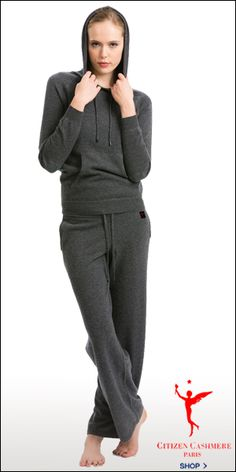 Citizen Cashmere's lounge pants and hoodie worn together as a track suit.