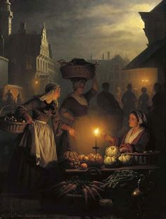 "Little-known and under-appreciated art. by Petrus van Schendel (1806 - 1870) ""Night Market"""