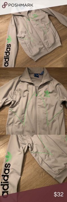 Flawless old school Adidas track jacket Flawless lime green and grey old school track zip-up jacket - not sure if this is for women or men but fits perfectly on me adidas Jackets & Coats