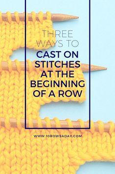 knitting tutorial Three Ways to Cast On - knitting Cast On Knitting, Knitting Help, Knitting For Beginners, Easy Knitting, Knitting Stitches, Knitting Designs, Knitting Projects, Knitting Patterns, Knitting Tutorials