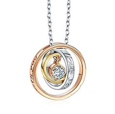 """Pauline & Morgen """"Mom, I love you. Always be with you"""" Engraved 3 Ring Crystal Women Necklace"""
