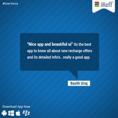 #UserVoice from one of our app user. Thanks for sharing your feedback Bazith Siraj  #iReff #GoodApp