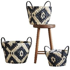 House Doctor Set Of 3 Woven Baskets : Set of three black and natural woven geometric baskets with black handles.  - A House Doctor DK product - Set of three baskets  - Size Small: H:18cm x Diameter: 28cm / Medium: H:23cm x Diameter: 33cm / Large: H:27cm x Diameter: 37cm