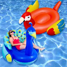 Swimline 2 Piece Peacock and Parrot Swimming Pool Float Set - 90705M-29