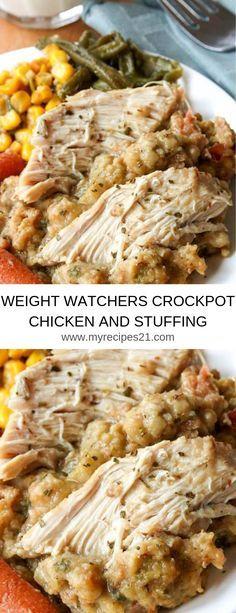 WEIGHT WATCHERS CROCKPOT CHICKEN AND STUFFING #Weight Watchers#Chicken#Crock pot