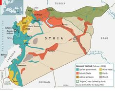 Areas of control in Syria (February 2016)