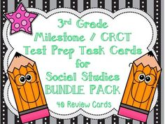Use this great bundle pack of 2 different sets of 20 task cards- a total of 40 task cards- in preparation for the Georgia Milestone / CRCT. The 40 cards are based on the 3rd grade Georgia Performance Standards for Social Studies. Students are able to get familiar with the multiple choice test layout, wording on the test, and bubbling in their answers all while reviewing concepts taught throughout the year!