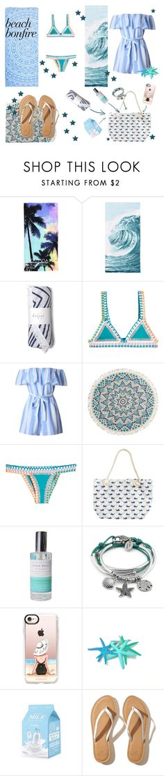 """#beachbonfire"" by anuta-chery ❤ liked on Polyvore featuring PBteen, kiini, Billabong, Lizzy James, Casetify and Hollister Co."