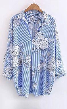 Vertical Striped Floral Print Blouse