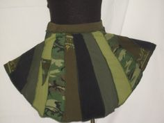 Upcycled Skirt Camo Green Pixie from by CindyliciousClothing, $45.00