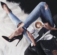 Pinterest: iamtaylorjess Distressed denim and edgy black heels #fashion