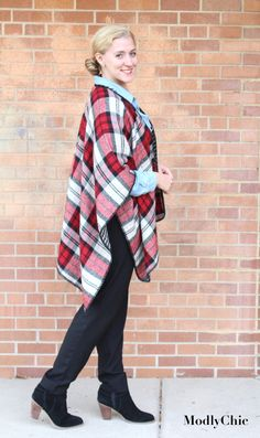 It's all about the layers this winter season - cami, denim button-up shirt, plaid reversible poncho. http://www.modlychic.com/2016/12/reversible-plaid-poncho.html