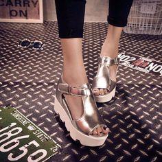 Leather T Strap Platform Fish Mouth Sandals