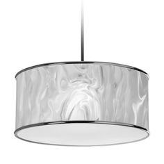 Dainolite 3-light Pendant in Polished Chrome in White Ice Fabric