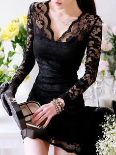 Seductive Long Sleeve Hollow Lace Curve Hugging Dress Black on DressLuck.com