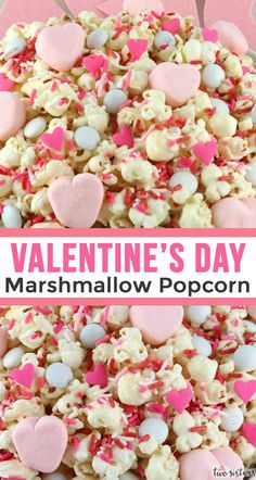 "Valentine's Day Marshmallow Popcorn - a fun Valentine's Day treat. Sweet, salty, crispy and delicious and it's so easy to prepare. Say ""I love you"" with this easy to make Valentine's Day dessert. Pin this great popcorn recipe for la Valentines Day Food, Funny Valentine, Roses Valentine, Valentines Day Makeup, Valentine Desserts, Valentine Party, Valentine Crafts, Marshmallow Popcorn, Mini Marshmallows"