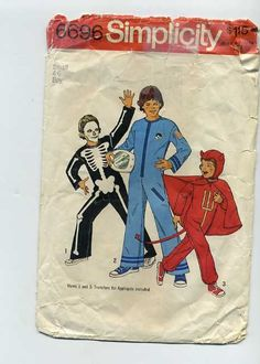 Simplicity 6696 #Skeleton #Devil #Astronaut Costume Child 4-6 1974 Preowned & Cut #Simplicity #Costume #halloween $Sewingpattern