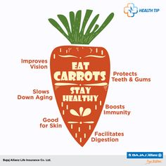 When life gives you carrots, take a bite! They are not only delicious but are also healthy. #HealthTips