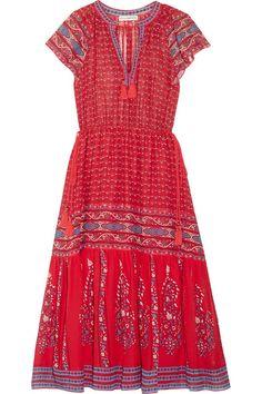 Neela tassel-trimmed printed silk-georgette dress
