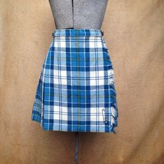 Vintage 1960's Mini Skirt. Blue Plaid School Girl. This is a great mini kilt from Laird-Portch of Scotland. Safety pin included. High waisted and grunge chic or preppy mod.