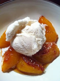 Roasted Peaches with FroYo
