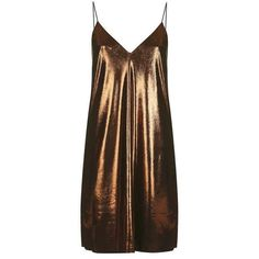 Metallic Slip Dress by Nobody's Child ($31) ❤ liked on Polyvore featuring dresses, little black dress, slip dress, brown dresses, topshop dresses and metallic dress
