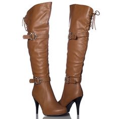 Apple Bottoms Beau High Heel Boots Womens Brown Tie - Was $70.00 - SAVE $35.00. BUY Now - ONLY $34.95.