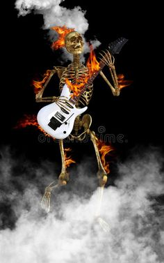 Skeleton Playing Electric Guitar Rock and Roll. Fun Halloween and scary skeleton playing the electric guitar. The skull and bones are dancing to rock and roll royalty free stock photography Metal On Metal, Heavy Metal, Lion Art, Gothic Rock, Grim Reaper, Dark Fantasy Art, Skull And Bones, Skull Art, Scary Halloween