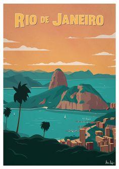 Image of rio de janeiro poster poster city, south america travel, travel illustration, Retro Poster, Vintage Travel Posters, Rio De Janerio, City Poster, Poster Poster, Beach Posters, Photo Vintage, Vintage Ski, Travel Themes