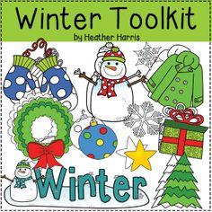 Winter Clip Art Toolkit for teacher sellers.