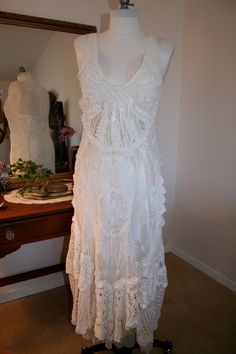 dress made from crochet vintage doilies