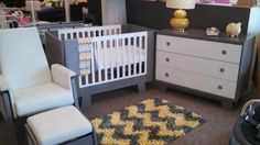 Pomelo Collection and Urban Glider from Dutailier at Room for Prince and Princess, Florida. Glider Chair, Yellow Nursery, Prince And Princess, Baby Needs, Gliders, Nursery Ideas, Cribs, Modern Furniture, Toddler Bed