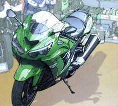 Luusama Motorcycle And Helmet Blog News: Motorcycle Animation: Green Kawasaki Ninja Comics